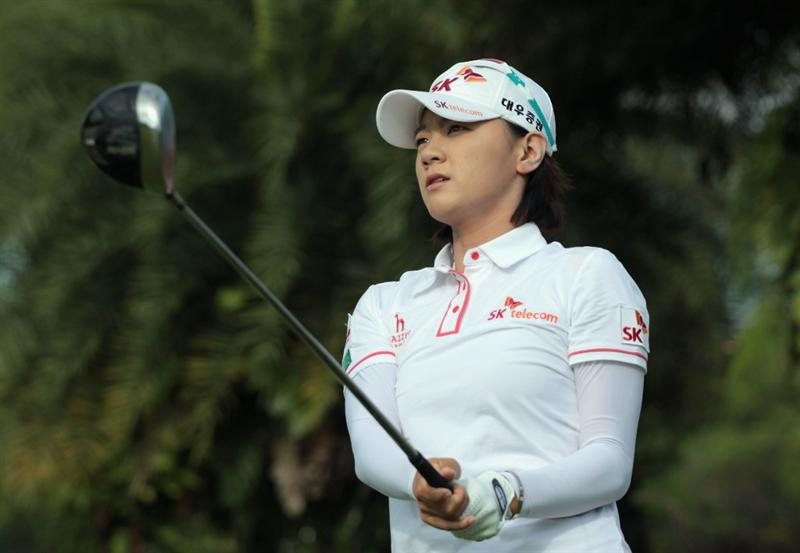 SINGAPORE - FEBRUARY 22:  Na Yeon Choi of South Korea plays a shot during a practice round prior to the start of the HSBC Women's Champions 2011 at the Tanah Merah Country Club on February 22, 2011 in Singapore, Singapore.  (Photo by Scott Halleran/Getty Images)