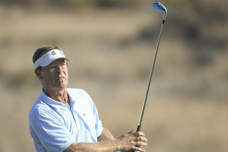 MARBELLA, SPAIN - OCTOBER 16:  Domingo Hospital of Spain plays his tee shot during the first round of the Benahavis Senior Masters at La Quinta Golf & Country Club on October 16, 2009 in Marbella, Spain.  (Photo by Phil Inglis/Getty Images)