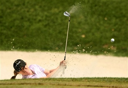 REUNION, FLORIDA - APRIL 17:  Allison Fouch plays a bunker shot on the 17th hole during the first round of the Ginn Open at Reunion Resort April 17, 2008 in Reunion, Florida.  (Photo by Scott Halleran/Getty Images)