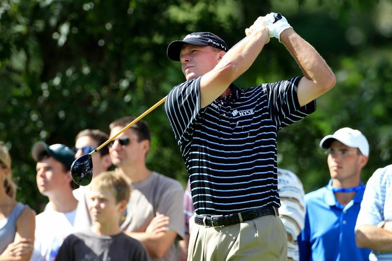 NORTON, MA - SEPTEMBER 05:  Steve Stricker tees off on the sixth hole during the third round of the Deutsche Bank Championship at TPC Boston on September 5, 2010 in Norton, Massachusetts.  (Photo by Michael Cohen/Getty Images)