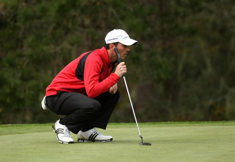 PEBBLE BEACH, CA - FEBRUARY 12: Mike Weir of Canada lines up a putt on the sixth hole during the first round of the the AT&T Pebble Beach National Pro-Am on Poppy Hills Golf Course on February 12, 2009 in Pebble Beach, California. (Photo by Stephen Dunn/Getty Images)