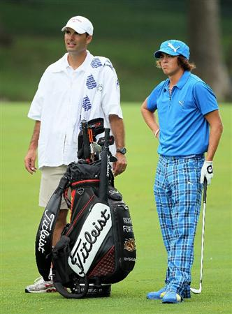 DUBLIN, OH - JUNE 05: Rickie Fowler and his caddie Donnie Darr are pictured during the third round of The Memorial Tournament presented by Morgan Stanley at Muirfield Village Golf Club on June 5, 2010 in Dublin, Ohio.  (Photo by Andy Lyons/Getty Images)