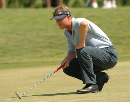 John Senden lines up a putt on the fourth green during the final round of the 2005 Valero Texas Open at La Cantera in at La Cantera Country Club in San Antonio, Texas September 25, 2005.Photo by Steve Grayson/WireImage.com