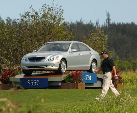 Peter Lonard walks past a Mercedes Benz S550 as he heads for the 11th green  during the second round of the PGA TOUR's 2006 Mercedes Championships at The Plantation At Kapalua, in Kapalua Maui, Hawawii January 6, 2005Photo by Steve Grayson/WireImage.com