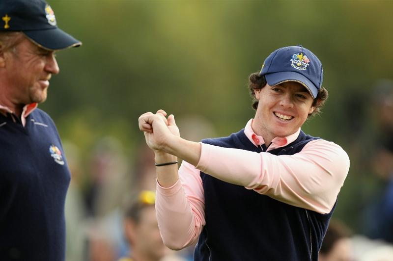NEWPORT, WALES - SEPTEMBER 30:  Europe Team members Rory McIlroy (R) and Miguel Angel Jimenez walks off a tee box during a practice round prior to the 2010 Ryder Cup at the Celtic Manor Resort on September 30, 2010 in Newport, Wales.  (Photo by Ross Kinnaird/Getty Images)