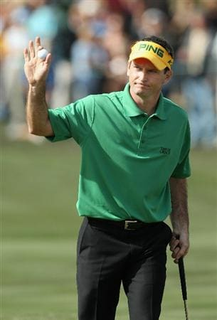 SCOTTSDALE, AZ - FEBRUARY 06:  Mark Wilson waves to the crowd after finishing the third round of the Waste Management Phoenix Open at TPC Scottsdale on February 6, 2011 in Scottsdale, Arizona.  (Photo by Christian Petersen/Getty Images)