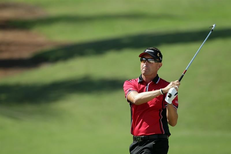 WINDERMERE, FL - MARCH 15:  Robert Allenby of Australia and the Isleworth Golf and Country Club on the 3rd hole during the second day of the 2011 Tavistock Cup at Isleworth Golf and Country Club on March 15, 2011 in Windermere, Florida.  (Photo by David Cannon/Getty Images)