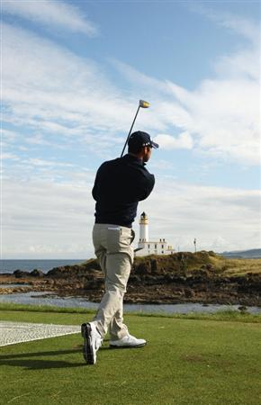 TURNBERRY, SCOTLAND - JULY 14:  Paul Casey of England watches a shot during a practice round prior to the 138th Open Championship on the Ailsa Course, Turnberry Golf Club on July 14, 2009 in Turnberry, Scotland.  (Photo by Ross Kinnaird/Getty Images)