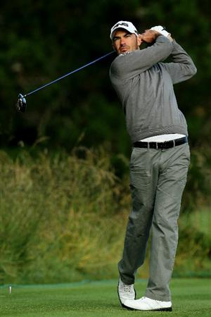 PEBBLE BEACH, CA - JUNE 17:  Gregory Havret hits his tee shot on the second hole during the first round of the 110th U.S. Open at Pebble Beach Golf Links on June 17, 2010 in Pebble Beach, California.  (Photo by Jeff Gross/Getty Images)