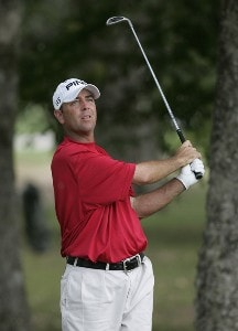 Patrick Sheehan hits out of trouble on the 13th hole during the third round of the Southern Farm Bureau Classic at Annandale Golf Club in Madison, Mississippi, on September 30, 2006. Photo by Hunter Martin/WireImage.com