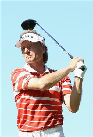 CONOVER, NC - OCTOBER 02:  Bernhard Langer of Germany hits a tee shot on the 18th hole during the second round of the Ensure Classic at the Rock Barn Golf & Spa on October 2, 2010 in Conover, North Carolina.  (Photo by Christian Petersen/Getty Images)