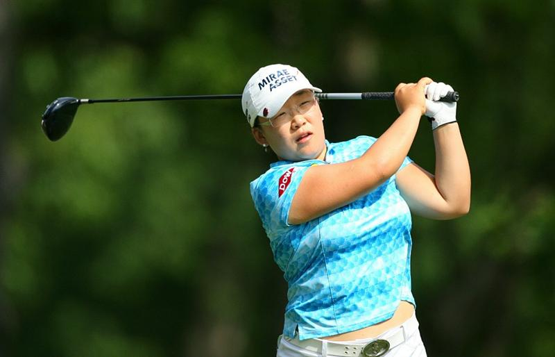 GLADSTONE, NJ - MAY 22: Jiyai Shin of South Korea hits her tee shot on the thirteenth hole during the third round of the Sybase Match Play Championship at Hamilton Farm Golf Club on May 22, 2010 in Gladstone, New Jersey. (Photo by Hunter Martin/Getty Images)