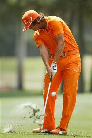 HILTON HEAD ISLAND, SC - APRIL 18:  Rickie Fowler hits his approach shot on the ninth hole during the final round of the Verizon Heritage at the Harbour Town Golf Links on April 18, 2010 in Hilton Head lsland, South Carolina.  (Photo by Scott Halleran/Getty Images)