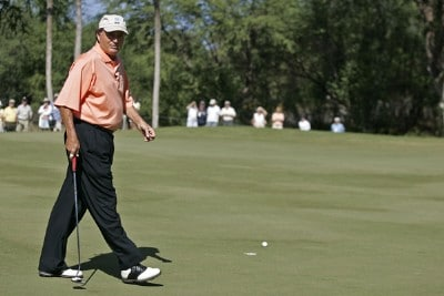 Raymond Floyd on the 18th green during the PGA TOUR's Wendy's Championship Skins Game, February 6, 2006 at the Wailea Golf Club in Wailea, Maui, Hawaii.Photo by Marco Garcia/WireImage.com