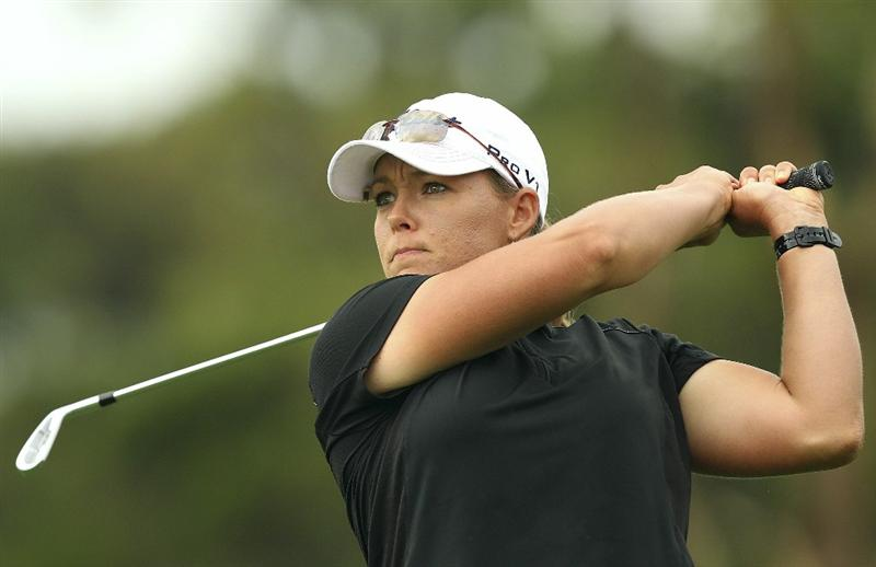 MELBOURNE, AUSTRALIA - FEBRUARY 04:  Katherine Hull of Australia plays a shot during day two of the Women's Australian Open at The Commonwealth Golf Club on February 4, 2011 in Melbourne, Australia.  (Photo by Lucas Dawson/Getty Images)