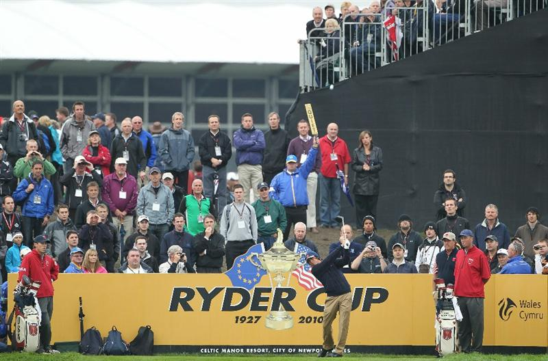 NEWPORT, WALES - SEPTEMBER 30:  Rickie Fowler of the USA tees off during a practice round prior to the 2010 Ryder Cup at the Celtic Manor Resort on September 30, 2010 in Newport, Wales.  (Photo by Jamie Squire/Getty Images)