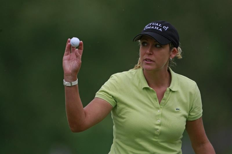 ROGERS, AR - SEPTEMBER 13:  Cristie Kerr waves after completing her final round play in the P&G Beauty NW Arkansas Championship at the Pinnacle Country Club on September 13, 2009 in Rogers, Arkansas.  (Photo by Dave Martin/Getty Images)