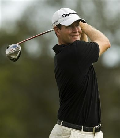 CHARLESTON, SC - OCTOBER 23: Justin Bolli watches his drive on the third hole during the second round of the Nationwide Tour Championship at Daniel Island on October 23, 2009 in Charleston, South Carolina. (Photo by Chris Keane/Getty Images)