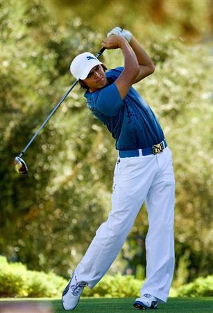 LAS VEGAS, NV- OCTOBER 16: Rickie Fowler tees off the 16th hole during the second round of the Justin Timberlake Shriners Hospitals for Childeren Open at the TPC Summerland on October 16, 2009  in Las Vegas, Nevada. (Photo by Marc Feldman/Getty Images)