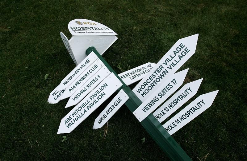 LOUISVILLE, KY - SEPTEMBER 14:  A sign is knocked down after high winds on the course prior to the 37th Ryder Cup at Valhalla Golf Club on September 14, 2008 in Louisville, Kentucky.  (Photo by Andy Lyons/Getty Images)
