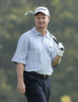 Joe Durant on the par three 17th hole during the first round of the 2005 84 Lumber Classic on Thursday, September 15, 2005 held at the Mystic Rock Golf Course/Nemacolin Woodlands Resort  in Farmington, Pennsylvania.Photo by Marc Feldman/WireImage.com