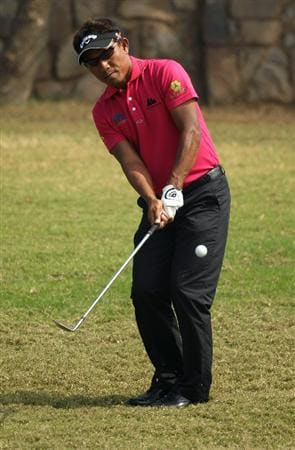 NEW DELHI, INDIA - FEBRUARY 17:  Thongchai Jaidee of Thailand in action during the first round of the Avantha Masters held at The DLF Golf and Country Club  on February 17, 2011 in New Delhi, India.  (Photo by Ian Walton/Getty Images)