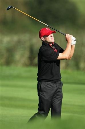 NEWPORT, WALES - OCTOBER 04:  Steve Stricker of the USA watches his second shot on the ninth hole in the singles matches during the 2010 Ryder Cup at the Celtic Manor Resort on October 4, 2010 in Newport, Wales.  (Photo by Andy Lyons/Getty Images)