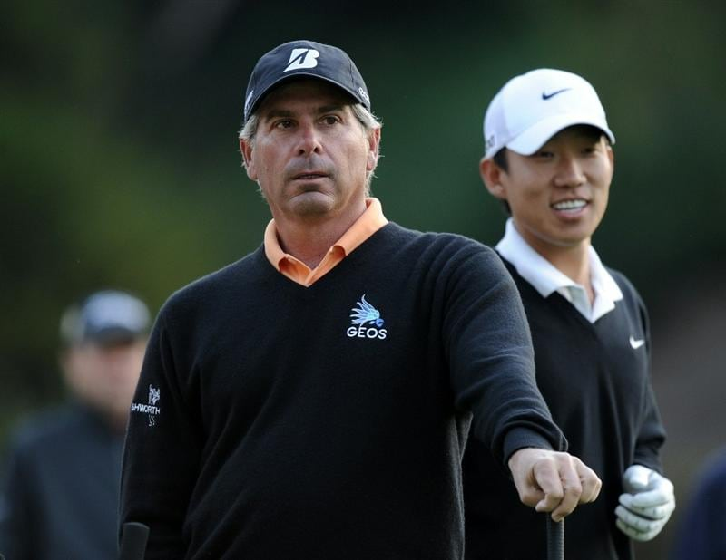 PACIFIC PALISADES, CA - FEBRUARY 18:  Fred Couples waits to tee off with Anthony Kim on the second hole during the second round of the Northern Trust Open at the Riviera Country Club on February 18, 2011 in Pacific Palisades, California.  (Photo by Harry How/Getty Images)