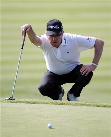 BARCELONA, SPAIN - MAY 06:  Miguel Angel Jimenez of Spain during the second round of the Open de Espana at the the Real Club de Golf El Prat on May 6 , 2011 in Barcelona, Spain.  (Photo by Ross Kinnaird/Getty Images)