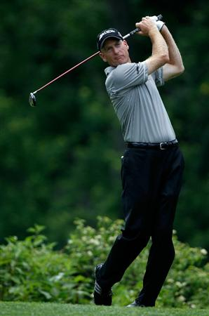 DUBLIN, OH - JUNE 02:  Jim Furyk hits a shot during the Memorial Skins Game prior to the start of the 2010 Memorial Tournament at the Muirfield Village Golf Club on June 2, 2010 in Dublin, Ohio.  (Photo by Scott Halleran/Getty Images)