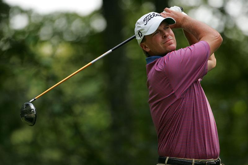 NORTON, MA - SEPTEMBER 07:  Steve Stricker hits his drive on the ninth hole during the final round of the Deutsche Bank Championship at TPC Boston held on September 7, 2009 in Norton, Massachusetts.  (Photo by Michael Cohen/Getty Images)