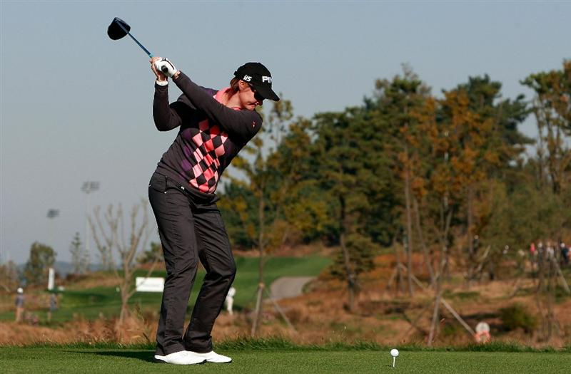 INCHEON, SOUTH KOREA - OCTOBER 30:  Maria Hjorth of Sweden hits a tee shot on the second hole during the 2010 LPGA Hana Bank Championship at Sky 72 Golf Club on October 30, 2010 in Incheon, South Korea.  (Photo by Chung Sung-Jun/Getty Images)