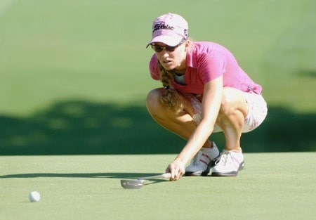 Kris Tamulis lines up a putt on the first green during the third round of the 2005 Jamie Farr Owens Corning Classic at the Highland Meadows Golf Club in Sylvania, Ohio on July 9, 2005.Photo by Al Messerschmidt/WireImage.com