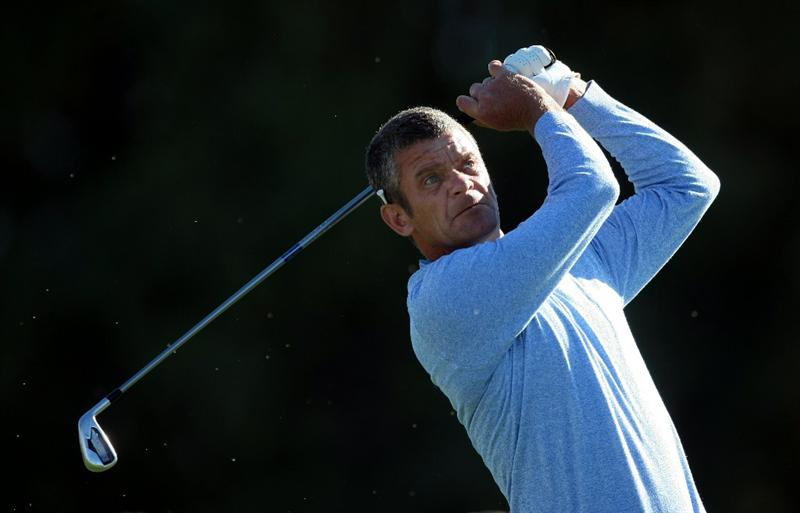 LA JOLLA, CA - JANUARY 28:  Jesper Parnevik of Sweden tees off the 12th hole during the second round of the Farmers Insurance Open at Torrey Pines on January 28, 2011 in La Jolla, California. (Photo by Donald Miralle/Getty Images)