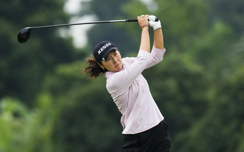 HAIKOU, CHINA - OCTOBER 29:  HLPGA Tour player Candie Kung of Taiwan tees off on the 2nd hole during day three of the Mission Hills Start Trophy tournament at Mission Hills Resort on October 29, 2010 in Haikou, China. The Mission Hills Star Trophy is Asia's leading leisure liflestyle event which features Hollywood celebrities and international golf stars.  (Photo by Victor Fraile/Getty Images for Mission Hills)
