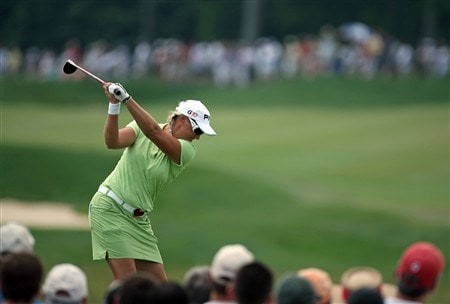 HAVRE DE GRACE, MD - JUNE 08:  Maria Hjorth of Sweden hits her tee shot on the 1st hole during the final round of the McDonald's LPGA Championship at Bulle Rock Golf Course on June 8, 2008 in Havre de Grace, Maryland.  (Photo by Andy Lyons/Getty Images)