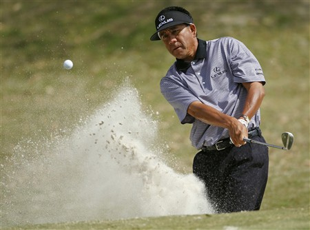 LAFAYETTE, LA - MARCH 27:  Esteban Toledo of Mexico hits from the sand on the 11th hole during the first round of the 2008 Chitimacha Louisiana Open at the Le Triomphe Country Club March 27, 2008 in LaFayette, Louisiana.  (Photo by Dave Martin/Getty Images)