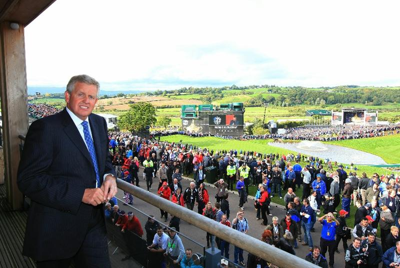 NEWPORT, WALES - SEPTEMBER 30:  Europe Team Captain Colin Montgomerie poses prior to the Opening Ceremony prior to the 2010 Ryder Cup at the Celtic Manor Resort on September 30, 2010 in Newport, Wales.  (Photo by David Cannon/Getty Images)