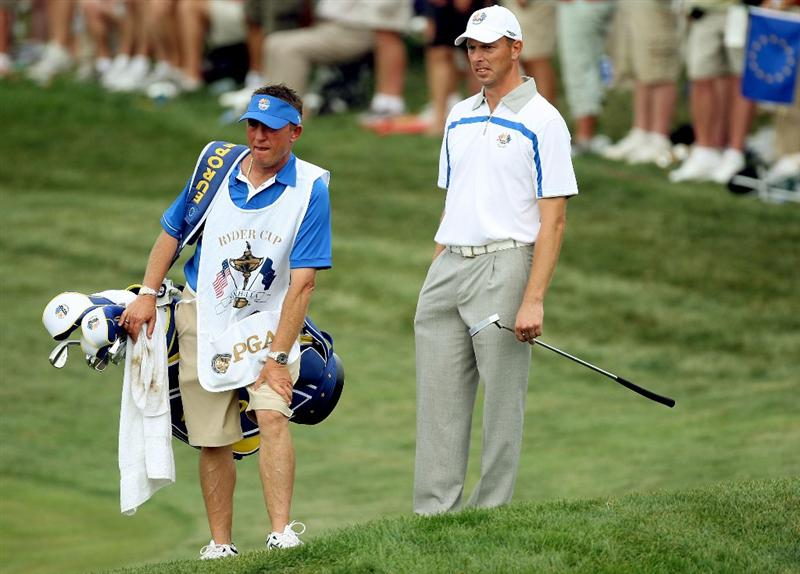 LOUISVILLE, KY - SEPTEMBER 19:  Soren Hansen of the European team chats with his caddie John Graham during the afternoon four-ball matches on day one of the 2008 Ryder Cup at Valhalla Golf Club on September 19, 2008 in Louisville, Kentucky.  (Photo by David Cannon/Getty Images)