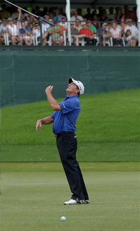 WEST DES MOINES, IA - MAY 31: Fred Funk  reacts to a missed putt on the 18th green during the third and final round of the Principal Charity Classic held at the Glen Oaks Country Club on May 31, 2009 in West Des Moines, Iowa. (Photo by Marc Feldman/Getty Images)