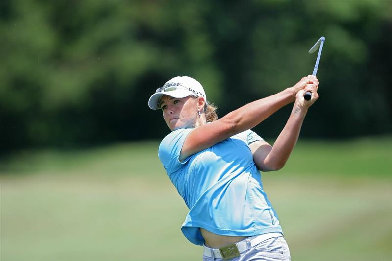 GALLOWAY, NJ - JUNE 19:  Katherine Hull of Australia hits a shot from the fairway during the second round of the ShopRite LPGA Classic held at Dolce Seaview Resort (Bay Course) on June 19, 2010 in Galloway, New Jersey.  (Photo by Michael Cohen/Getty Images)