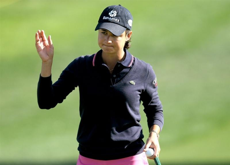 RANCHO MIRAGE, CA - APRIL 02:  Lorena Ochoa of Mexico waves after making a birdie putt on the 11th hole during the second round of the Kraft Nabisco Championship at Mission Hills Country Club on April 2, 2010 in Rancho Mirage, California.  (Photo by Stephen Dunn/Getty Images)