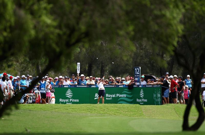 GOLD COAST, AUSTRALIA - MARCH 07:  Karrie Webb of Australia hits a tee shot on the 12th hole during round four of the 2010 ANZ Ladies Masters at Royal Pines Resort on March 7, 2010 in Gold Coast, Australia.  (Photo by Ryan Pierse/Getty Images)