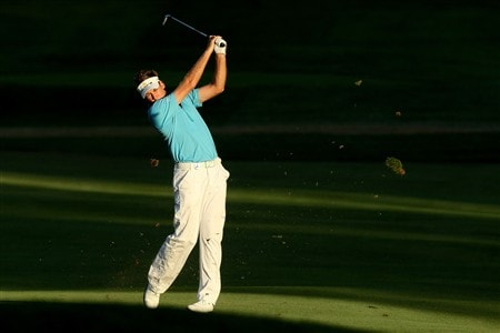 BLOOMFIELD HILLS, MI - AUGUST 07:  Ian Poulter of England plays his second shot on the 15th hole during round one of the 90th PGA Championship at Oakland Hills Country Club on August 7, 2008 in Bloomfield Township, Michigan.  (Photo by David Cannon/Getty Images)