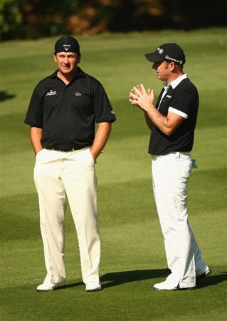 SHENZHEN, CHINA - NOVEMBER 28:  Graeme McDowell and Paul McGinley of Ireland during round two of the Omega Mission Hills World Cup at the Mission Hills Resort on November 28, 2008 in Shenzhen, China.  (Photo by Ian Walton/Getty Images)