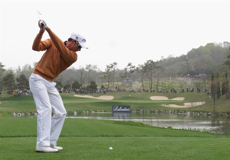 ICHEON, SOUTH KOREA - MAY 01:  Brett Rumford of Australia in action during the final round of the Ballantine's Championship at Blackstone Golf Club on May 1, 2011 in Icheon, South Korea.  (Photo by Andrew Redington/Getty Images)