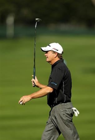 SAN FRANCISCO - NOVEMBER 06:  Fred Funk react after he made a putt on the 5th hole during round 3 of the Charles Schwab Cup Championship at Harding Park Golf Course on November 6, 2010 in San Francisco, California.  (Photo by Ezra Shaw/Getty Images)