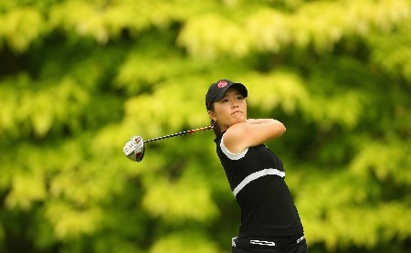 SINGAPORE - FEBRUARY 29:  Angela Park of USA tees off on the sixth hole during the second round of the HSBC Women's Champions at Tanah Merah Country Club on February 29, 2008 in Singapore.  (Photo by Andrew Redington/Getty Images)
