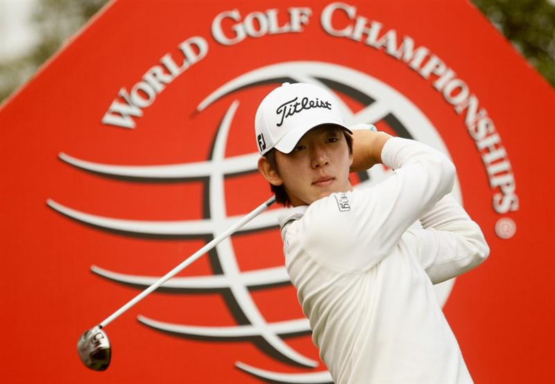 SHANGHAI, CHINA - NOVEMBER 04:  Seung-yul Noh of South Korea watches his tee shot on the ninth hole during the first round of the HSBC Champions at the Sheshan Golf Club on November 4, 2010 in Shanghai, China.  (Photo by Scott Halleran/Getty Images)