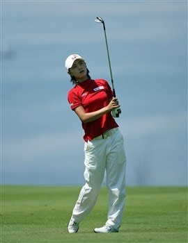 EVIAN, FRANCE - JULY 27:  Na Yeon Choi of South Korea hits her second shot on the 5th hole during the final round of the Evian Masters on July 27, 2008 at the Evian Golf Club in Evian, France.  (Photo by Andy Lyons/Getty Images)